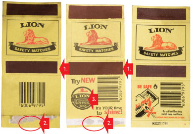 Counterfeit ignition strips are smoother, longer, wider and off-centre.
